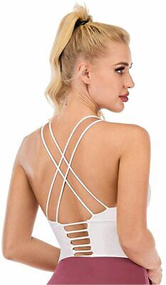 Cross Back Strappy Sports Bra Padded Wirefree, C White, Size 34D/36B/36C/38A - $13.99
