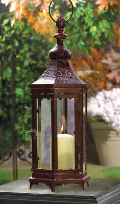 Mahogany Bronze Metal Moroccan-style Hanging Candle Lantern With Clear Glass