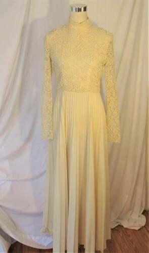 Vintage prairie style high neck pleated maxi dress sz 0-2