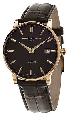 Frederique Constant Slimline Automatic 18k Rose Gold Mens Strap Watch FC-316C5B9