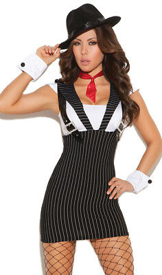 Gangster Costume Mobster Dress Suspenders Tie Cuffs Mafia Machine Gun Greta 9951 - Female Gangster Costumes