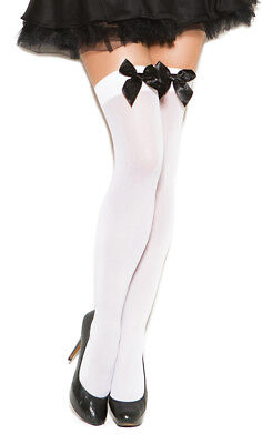 Satin Bow Thigh High Stockings Opaque Nylons Hosiery Hi Black White Red 1708 Black Bow Stockings