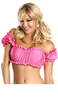Womens Pirate Wench Costume (Off the Shoulder Scrunch Crop Top Short Sleeve School Girl Pirate Wench)