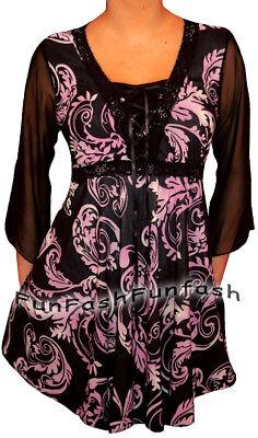 NW1 FUNFASH PLUS SIZE CORSET STYLE BLACK PURPLE WOMEN TOP SHIRT BLOUSE XL 1X - 1 Corset Shirt