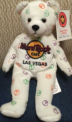 Hard Rock Cafe LAS VEGAS 2003 HRC PEACE Teddy Beara BEAR Plush Bean Bag Toy MWMT