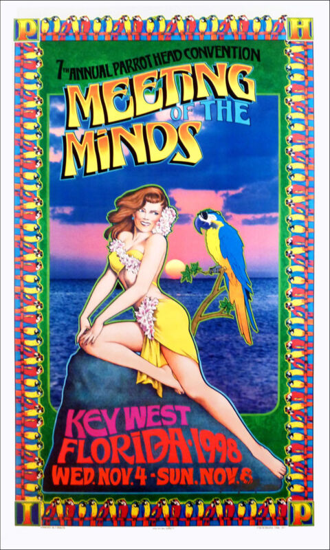 Jimmy Buffett Poster Parrot Heads 7th Meeting of the Minds Hand Signed Bob Masse