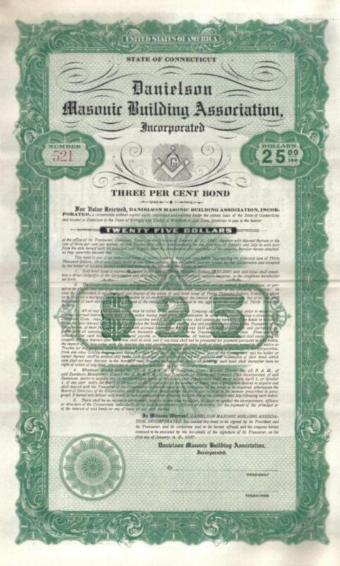 USA 1927 Danielson Masonic Building Association 3% Unissued Bond $25 DECO coupon