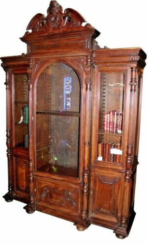 Grand, Renaissance Revival French Walnut Bookcase - 1800s - Almost 10 feet tall!