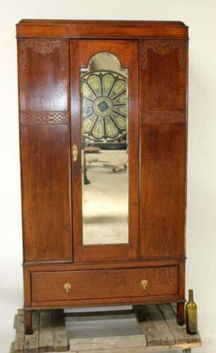 Huge Antique Oak Wardrobe with Beveled Mirror