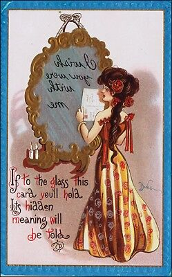 Signed Artist DWIG, Mirror Novelty: Beautiful Woman, Shiny Gold, Silver. Pre-15.