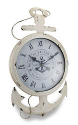 Zeckos Weathered White Finish Nautical Anchor Large Metal Wall Clock