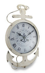 Zeckos Weathered White Finish Nautical Anchor Large Metal Wall Clock
