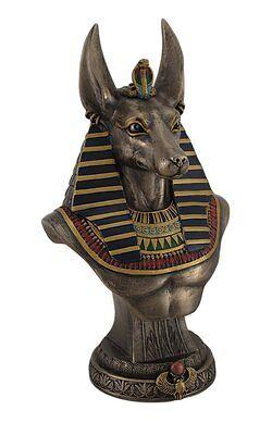 "9.5"" Egyptian God Anubis Bust On Plinth Egypt Decor Statue Sculpture Figure"