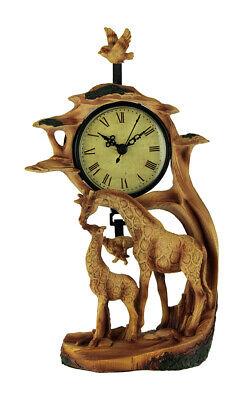 Giraffe Family On Safari Carved Wood Look Clock Figurine