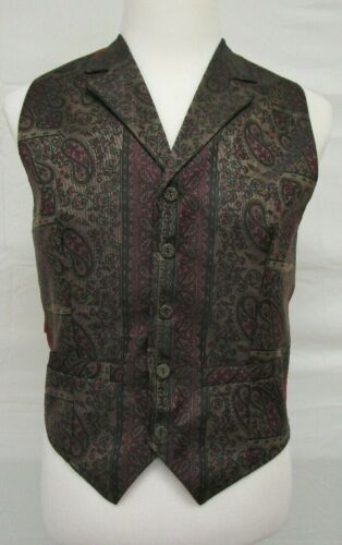 Wah Maker Frontier Clothing Mens Vest Small USA Red Green Brown Paisley Western