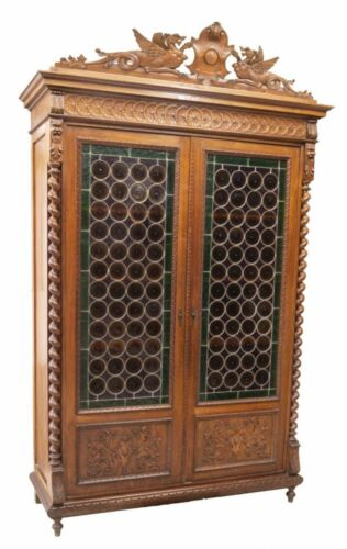 FANCY FRENCH HENRI II STYLE BULLSEYE GLASS BOOKCASE, 19th century ( 1800s )!!