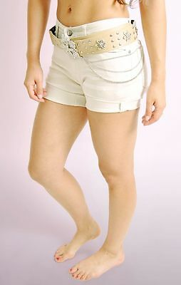 Belted Stretch-shorts (Ladies Womens Beige Stretch Belted Shorts with Roll up Cuffs Half Pant NEW)