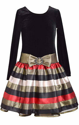 Bonnie Jean Tween Big Girls Long Sleeve Metallic Velvet Holiday Dress 4 - 16 New