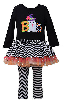 Bonnie Jean Baby Girls Halloween BOO Ghost Black outfit Set 12 18 24 Months - Black Halloween Outfit