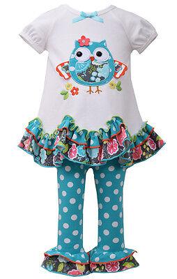 Bonnie Jean Little Girls Aqua Owl Leggings Outfit 2 Pc Set 12M 18M 24M 2T 3T 4T