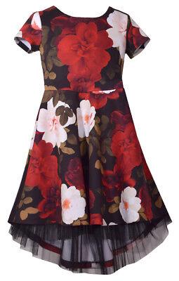 Bonnie Jean Big Girls 7-16 Short Sleeve  Floral Scuba High low Holiday Dress  - Girls Christmas Dresses 7-16