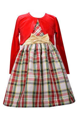 Bonnie Jean Girls  Santa Holiday Christmas Cardigan Velvet Red Dress Set 4-16