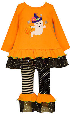 Bonnie Jean Little Girls Orange GHOST Halloween /Black Leggings Set outfit 2T-6X - Black Halloween Outfit
