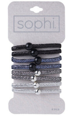 SOPHI HAIR BAND 8 PACK BEADED ELASTICS WITH GLITTER(Assorted - Beaded Sparkle