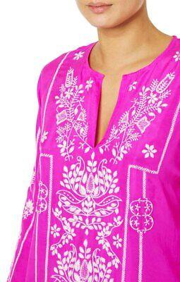 JULIET DUNN  Lotus embroidered magenta pink silk long kaftan cover up RRP £378