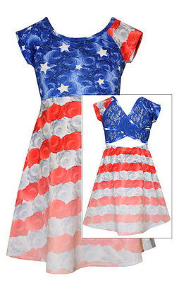 Bonnie Jean Little Girls 4Th Of July American Flag Patriotic Blue Dress 4 5 6 6X