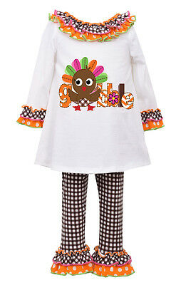 Turkey Outfit (Bonnie Jean Little Girls Holiday Thanksgiving Turkey Outfit Ivory Orange)