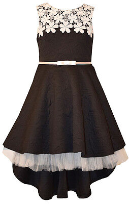 Bonnie Jean Holiday Special Occasion Black White Lace High Low Dress Girls 7-16