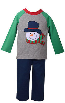 Bonnie Baby Matt' Scooter Christmas Holiday Boys Snowman Outfit Set 2T 3T 4T - 3t Boy Christmas Outfit