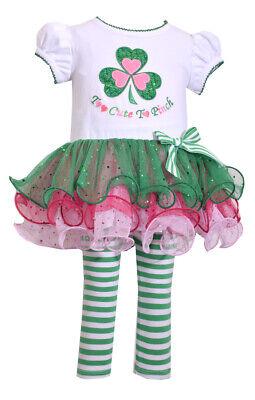 Bonnie Baby Girl St Patricks Day Green Shamrock Tutu Dress Leggings Outfit Set