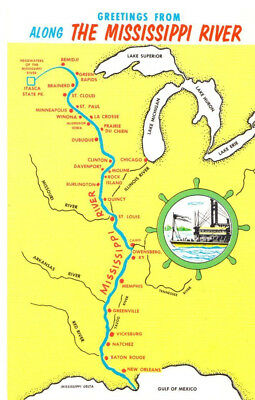 Greetings From Along the MS River, Map Postcard
