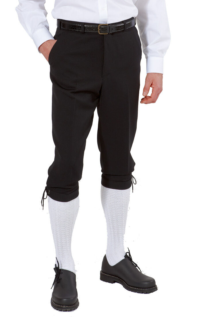 Herren-Kniebundhose schwarz aus Gewebe / Stoff
