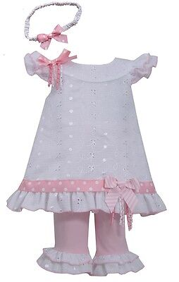 Bonnie Jean Girls Eyelet Spring Easter Dress Headband & Legging Outfit 4 5 6 6X - Spring Dresses Girls