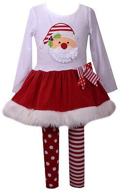 Bonnie Jean Baby Girls Santa Face  Fur Christmas Red Dress 2 pcs Set 0-24 Months - Baby Santa Dress