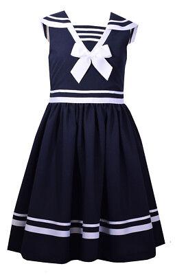 Bonnie Jean Big Girls Easter Blue Navy Nautical Bow Sailor Uniforms Dress 4-16