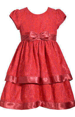 05738bdba8d021 Bonnie Jean Girls Red Lace Tired Valentine Holiday Party Pageant Dress 7 -  16