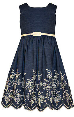 NEW Bonnie Jean Special Occasion Girls Chambray Dress With Embroidered Hem