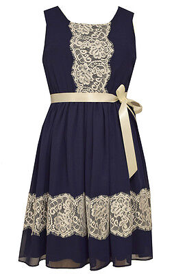 Bonnie Jean Foiled Floral Lace Special Occasion Fit Flare Navy Party Dress 7-16