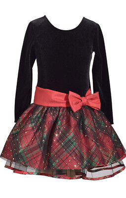 Bonnie Jean Girls Velvet Santa Christmas Holiday Bow Red Black Dress 4 - 16