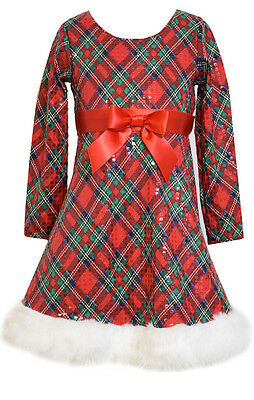 Bonnie Jean Girls Sequins  Holiday Christmas Santa Fur Red/Green Dress, Red 7-16 - Girls Christmas Dresses 7-16