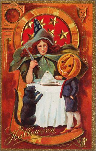 Halloween Witch, Jack-O-Lantern on Head, Black Cat. Embossed. Pre-1915.