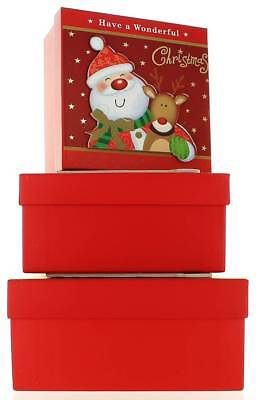 Set Of 3 Medium Christmas Square Nested Gift Boxes - Cute Santa Claus & Reindeer