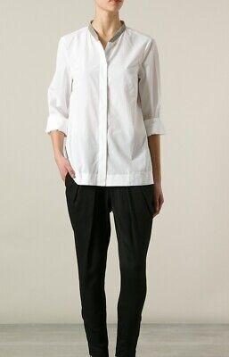 Women's Brunello Cucinelli White Beaded Mandarin Collar Shirt Blouse Top Size S