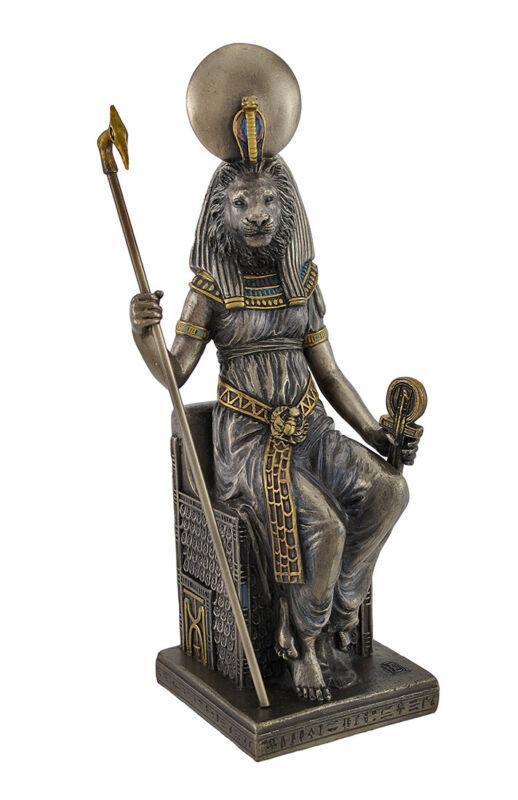 Egyptian Goddess Sekhmet Sitting on Throne Statue