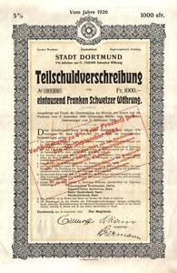 Germany-Westphalia-Bond-1926-City-Stadt-Dortmund-1000-swiss-francs-Uncancelled