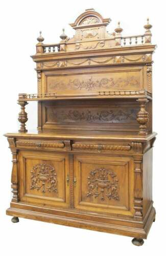 Antique Sideboard, Walnut,French Fruit & Foliate Carved, 1800